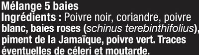 Moulin rechargeable 5 baies - Ingrédients - fr
