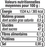 Caramel à tartiner - Informations nutritionnelles - fr