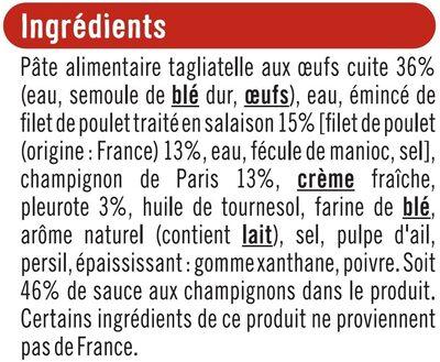 Emincés de poulet sauce champignons et tagliatelles - Ingrediënten