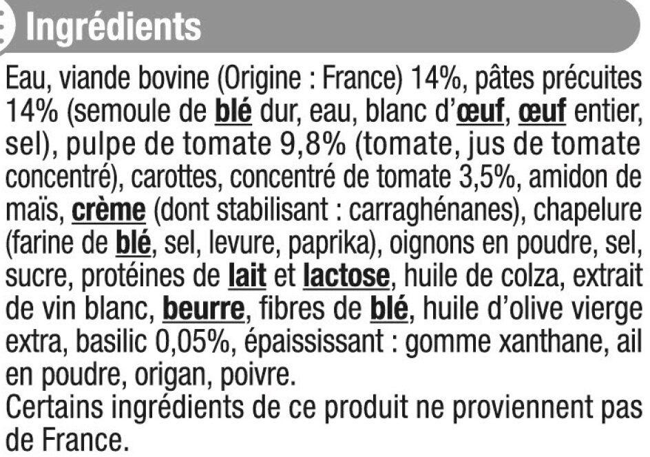 Lasagnes à la bolognaise - Inhaltsstoffe
