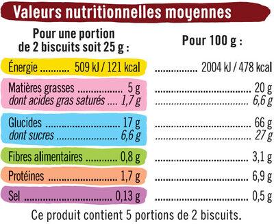 Sablés fourrés parfum chocolat noisettes - Nutrition facts - fr