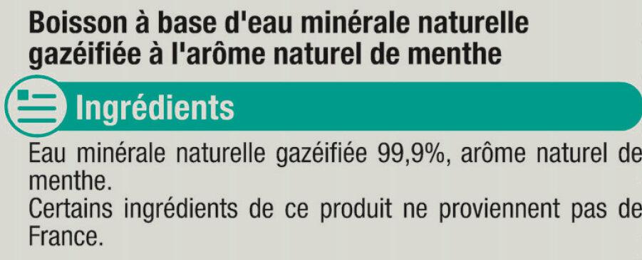 Boisson gazeuse à base d'eau minérale naturelle pétillante saveur menthe zéro sucre - Ingrédients