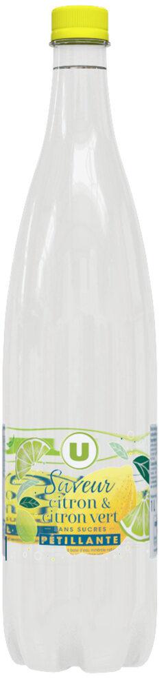 Boisson gazeuse à base d'eau minérale naturelle pétillante saveur citron-citron vert zéro sucre - Produit
