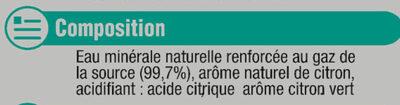 Boisson gazeuse à base d'eau minérale naturelle pétillante saveur citron-citron vert zéro sucre - Ingrédients