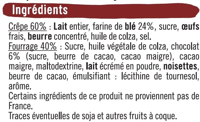 Crêpes fourrées chocolat - Ingrédients - fr