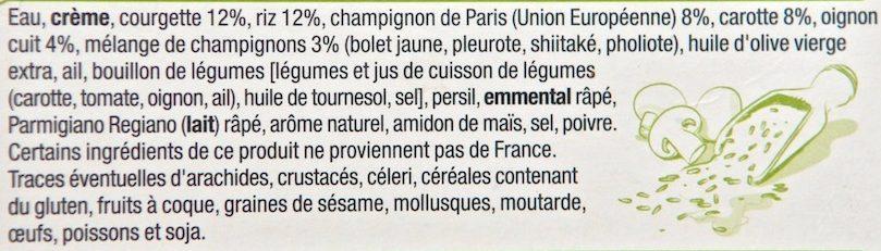 Risotto aux Champignons et Petits Légumes - Ingredients - fr