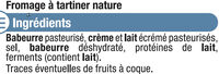 Fromage à tartiner nature  5% de MG - Ingredients