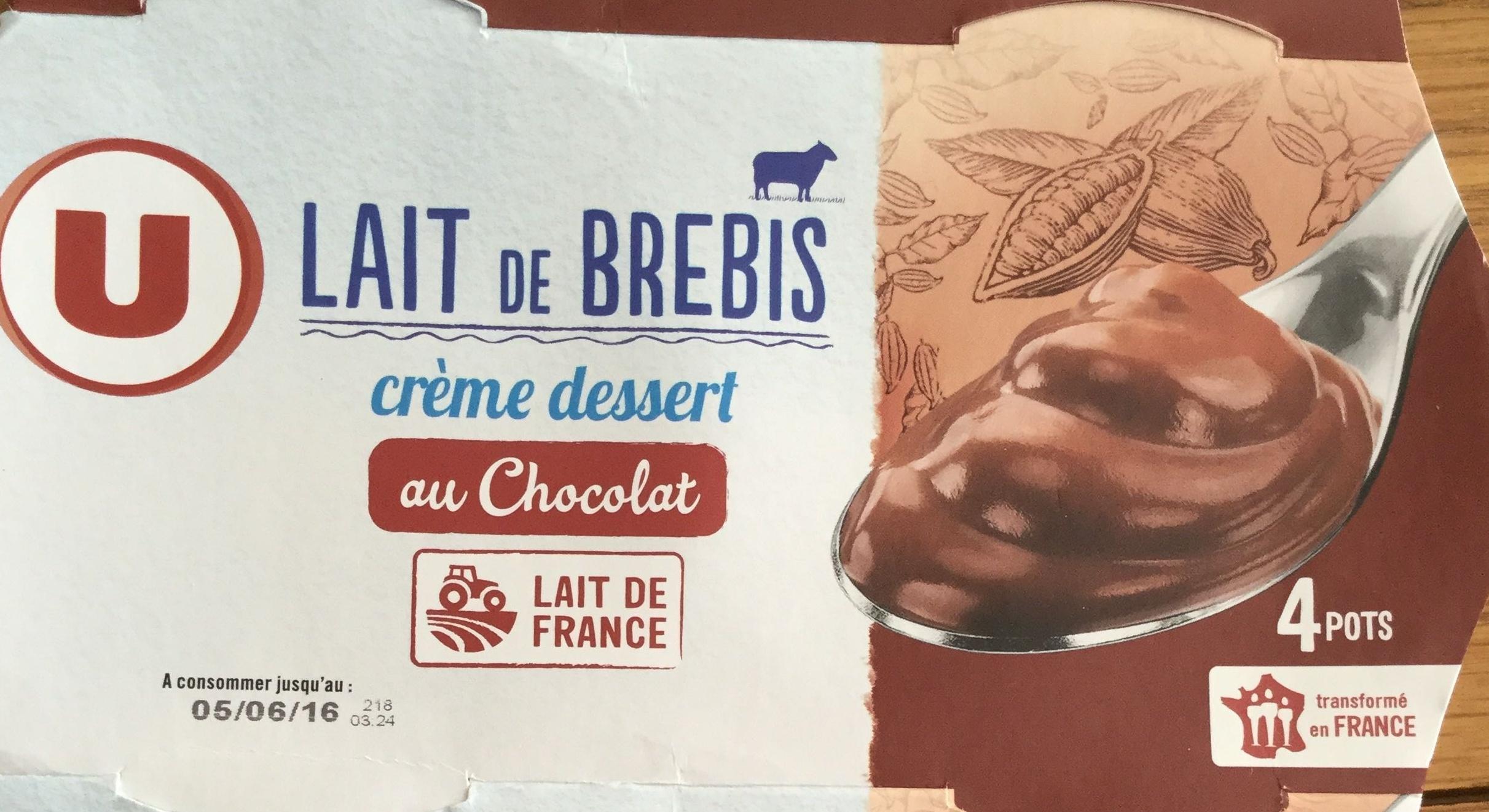 cr 232 me dessert au chocolat au lait de brebis u 460 g 4 x 115 g