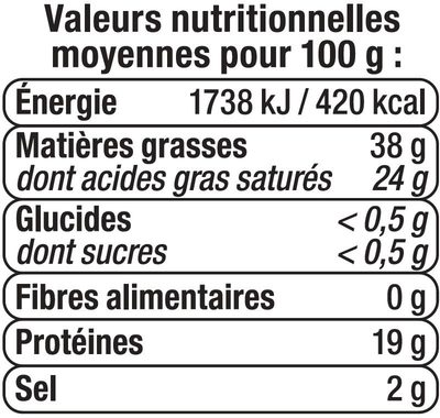 Tranchette havarti au lait pasteurisé 38% de MG - Informations nutritionnelles