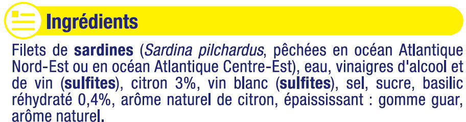 Filets de sardines marinade citron et basilic - Ingrédients - fr