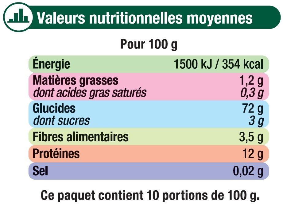 Coquillette cuisson rapide - Informations nutritionnelles - fr