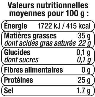 Cheddar au lait pasteurisé, fromage à pâte pressée non cuite 70%de MG - Voedingswaarden - fr