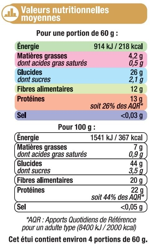 Pois chiches cuisson rapide 15 minutes - Informations nutritionnelles - fr