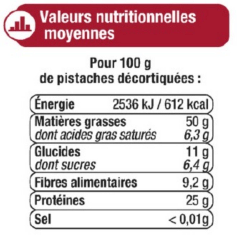 Pistache sans sel - Nutrition facts - fr