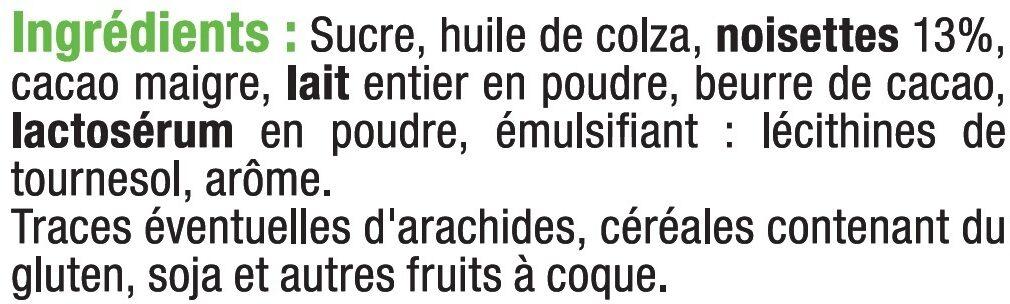 Pâte à tartiner aux noisettes sans huile de palme - Ingrédients