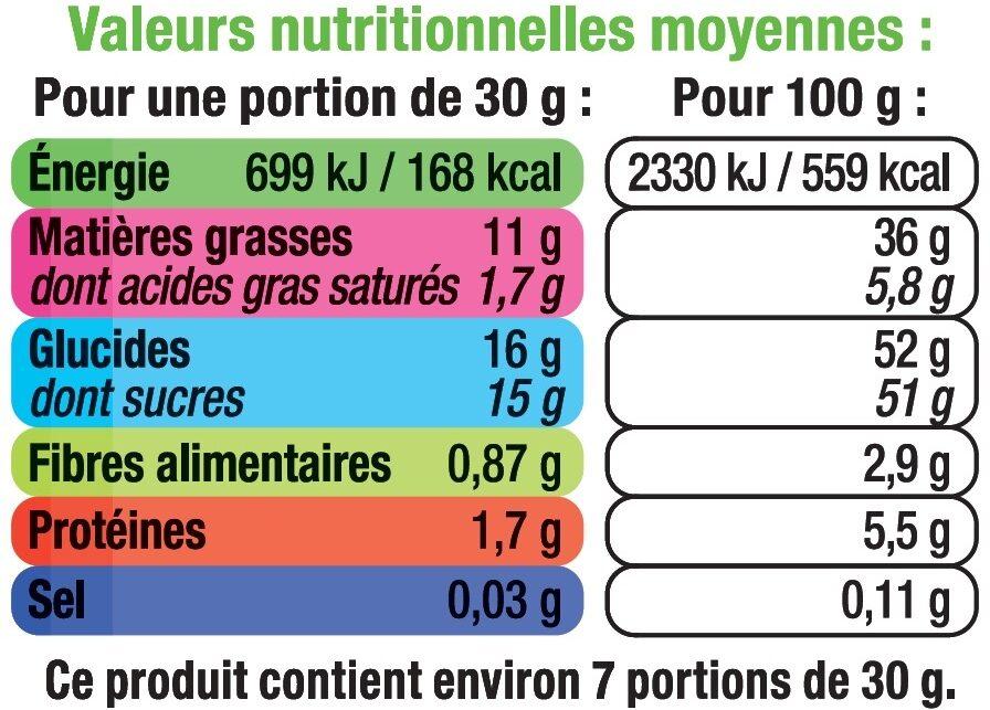 Pâte à tartiner aux noisettes sans huile de palme - Informations nutritionnelles - fr
