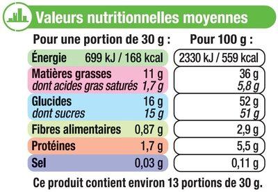 Pâte à tartiner sans huile de palme - Nutrition facts - fr