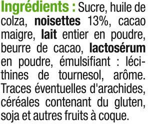 Pâte à tartiner sans huile de palme - Ingrédients - fr