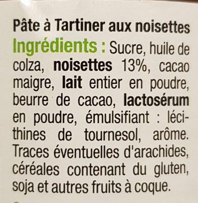 Pâte à tartiner sans huile de palme - Ingredientes
