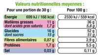 Pâte à tartiner sans huile de palme - Información nutricional