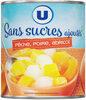 Mélange fruits sans sucre ajoutés de pêches, poires, abricots au jus de raison à base de concentré - Product