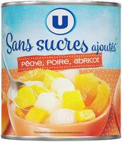 Mélange fruits sans sucre ajoutés de pêches, poires, abricots au jus de raison à base de concentré - Produit - fr