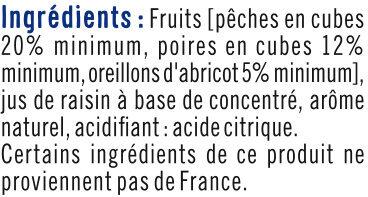Mélange fruits sans sucre ajoutés de pêches, poires, abricots au jus de raison à base de concentré - Ingrédients - fr