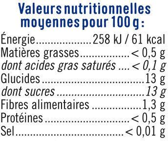 Mélange fruits sans sucre ajoutés de pêches, poires, abricots au jus de raison à base de concentré - Informations nutritionnelles - fr