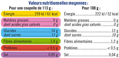 Coupelles pêche et mangue sans sucre ajoutés - Informations nutritionnelles - fr