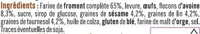 Toast gourmand complet et graines - Ingrédients - fr