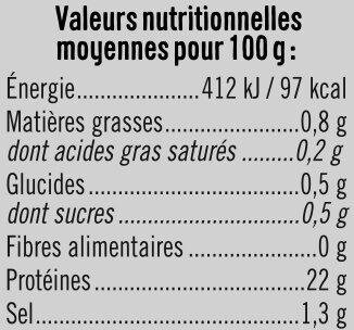 Blanc de poulet teneur sel réduit - Informations nutritionnelles - fr