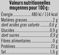 Blanc de poulet fumé au bois hêtre - Nutrition facts - fr