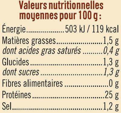 Filet de poulet rôti au four - Informations nutritionnelles