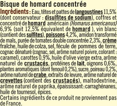 Bisque de homard à délayer - Ingrédients - fr