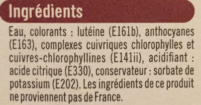 Colorants - Informations nutritionnelles