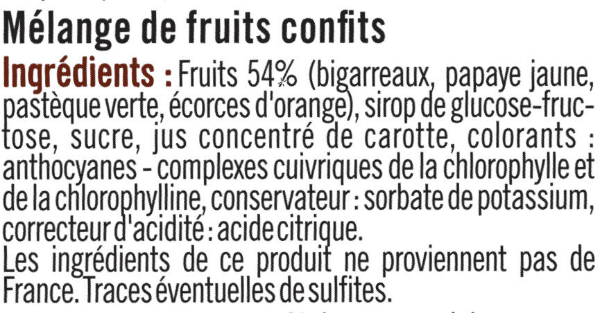 Fruits confits - Ingredients