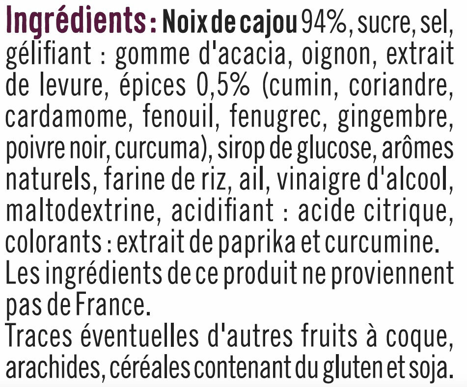 Noix de cajou indian spice - Ingredienti - fr