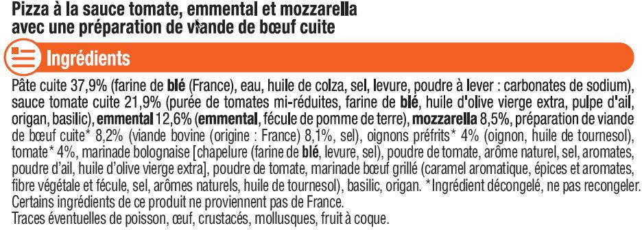 Pizza bolognaise au boeuf - Ingredients - fr
