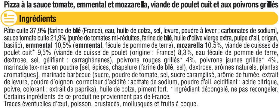 Pizza fajitas au poulet - Ingrédients - fr