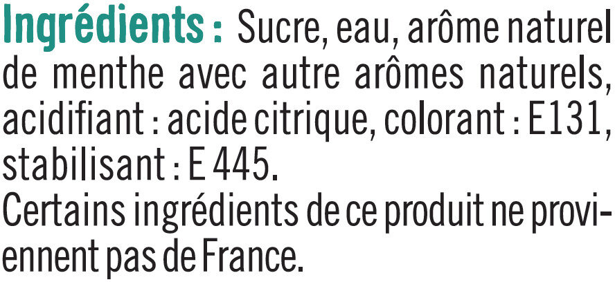 Sirop de menthe glaciale - Ingredients - fr