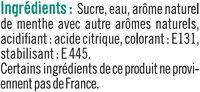 Sirop de menthe glaciale - Ingrediënten - fr