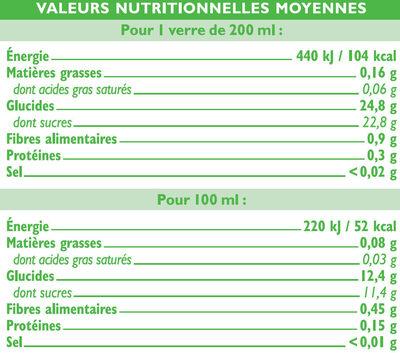 Pur jus de pomme de mangue et de passion - Voedingswaarden - fr