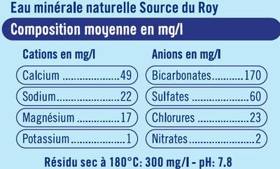 Eau minérale naturelle Source du Roy - Informations nutritionnelles - fr