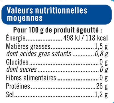 Thon naturel pêché à la ligne - Informations nutritionnelles - fr