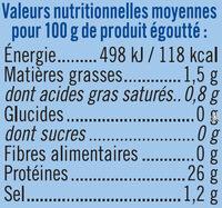 Thon listao entier au naturel pêche à la ligne - Informations nutritionnelles - fr
