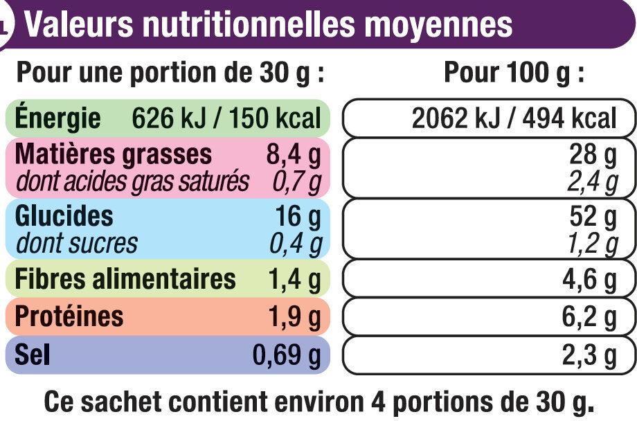 Chips extra ondulées saveur sel et vinaigre - Nutrition facts