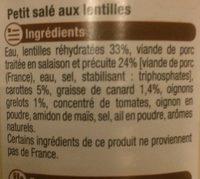 Petit salé aux lentilles - Ingrediënten - fr