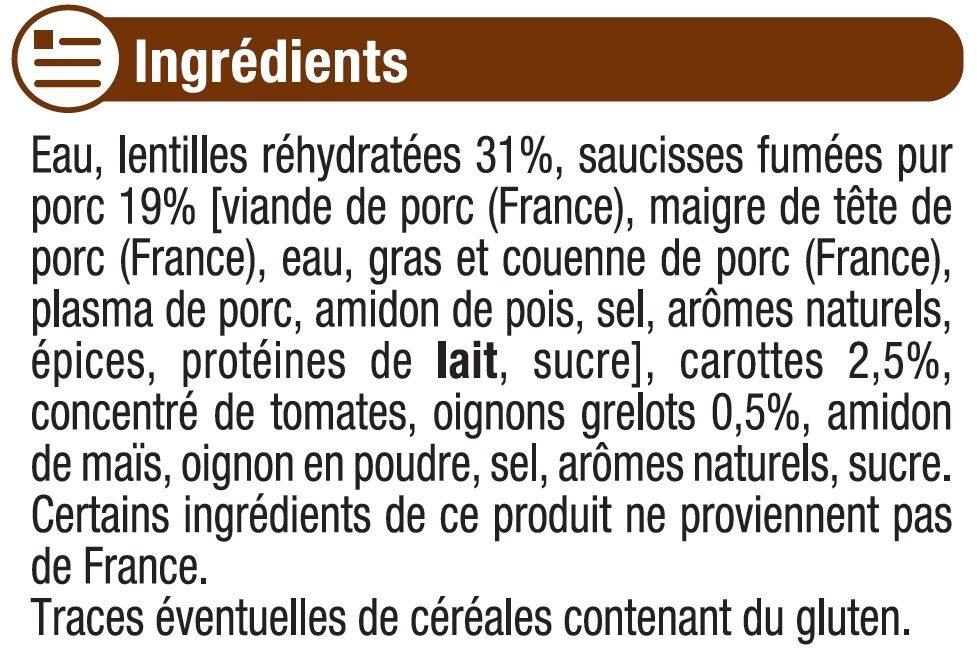 Saucisses lentilles cuisinées - Ingrédients - fr