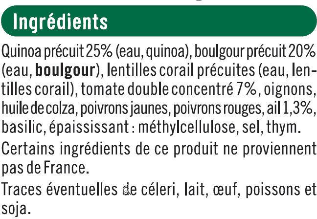 Galettes quinoa & boulgour provençale - Ingrediënten - fr