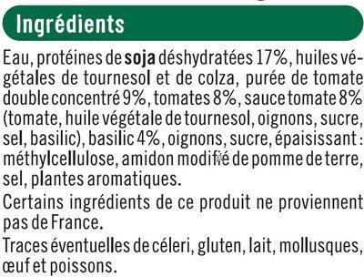 Boulettes au soja tomate et basilic - Ingrédients - fr